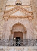 Entrance to castel del monte, apulia, italy. the octagonal fortress of empero Stock Photos