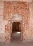 castel del monte, apulia, italy. the remains of the marble paneling around th - stock photo