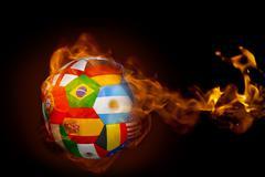 Stock Illustration of Fire surrounding international flag football