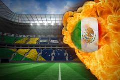 Stock Illustration of Fire surrounding mexico flag football