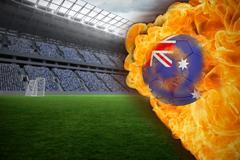 Stock Illustration of Fire surrounding australia flag football