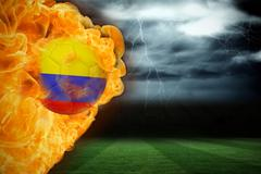 Stock Illustration of Fire surrounding colombia flag football