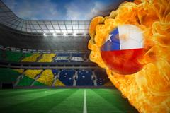 Stock Illustration of Fire surrounding chile flag football