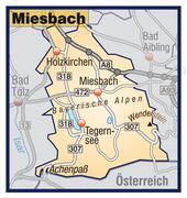 Stock Illustration of map of miesenbach with highways in pastel orange