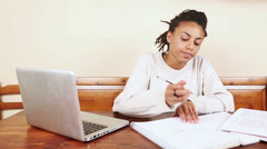 Beautiful Mixed Race Woman Studying - stock footage