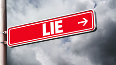 Truth or lie opposite direction signs. Concept of choice. Stock Footage
