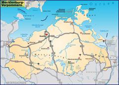 map of mecklenburg-western pomerania with highways in pastel orange - stock illustration