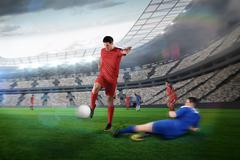 Stock Illustration of Football player in red kicking
