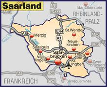 Map of saarland with highways in pastel orange Stock Illustration