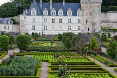 Gardens and chateau de villandry  in  loire valley in france Stock Photos