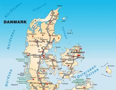 Map of denmark with highways in pastel orange Stock Illustration