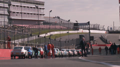 Pit lane pre race / time trials Brands Hatch Stock Footage