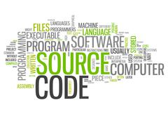 Word cloud source code Stock Illustration