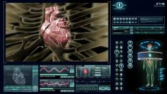 Futuristic heart scan Stock Footage