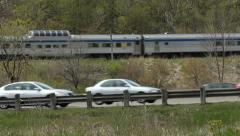VIA train and Don Valley Parkway traffic. Stock Footage