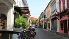 Phuket. Soi Romanie (street). Old Phuket Town Stock Footage