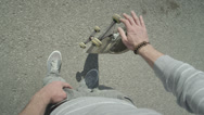 Stock Video Footage of SLOW MOTION: Skater spinning the skateboard