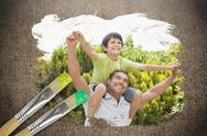 Stock Illustration of Composite image of father and son in the park
