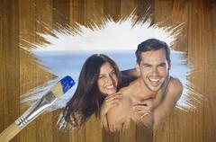 Composite image of attractive couple at the beach Stock Illustration