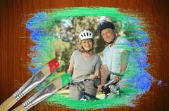Komposiitti kuva vanhempi pariskunta polkupyörää puistossa Piirros