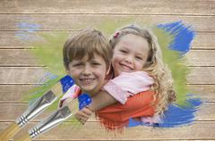 Stock Illustration of Composite image of sibling smiling in the park