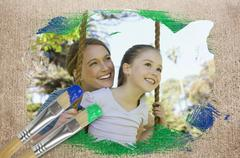 Composite image of mother and daughter in the park - stock illustration