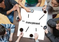 Stock Photo of Management on page with people sitting around table drinking coffee