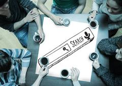 Composite image of people sitting around table drinking coffee - stock illustration