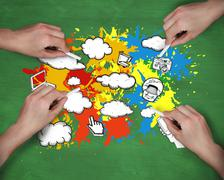 Composite image of multiple hands drawing apps with chalk - stock illustration