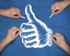 Composite image of multiple hands drawing thumbs up with chalk Stock Illustration