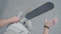 SLOW MOTION FPV: Skater picking up the skateboard Stock Footage