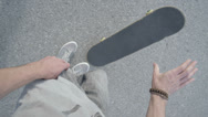 Stock Video Footage of SLOW MOTION FPV: Skater picking up the skateboard
