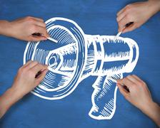 Composite image of multiple hands drawing megaphone with chalk - stock illustration
