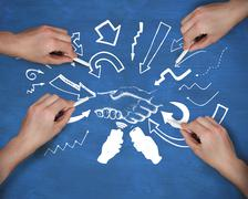 Composite image of multiple hands drawing handshake with chalk - stock illustration