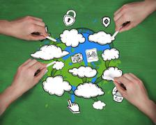 Composite image of multiple hands drawing clouds with chalk Stock Illustration