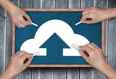 Composite image of multiple hands drawing cloud computing with chalk Stock Illustration