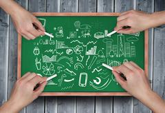 Composite image of multiple hands drawing brainstorm with chalk - stock illustration