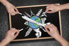Composite image of multiple hands drawing airplane with chalk Stock Illustration