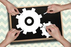 Composite image of multiple hands drawing cogs with chalk Stock Illustration