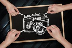 Composite image of multiple hands drawing camera with chalk - stock illustration