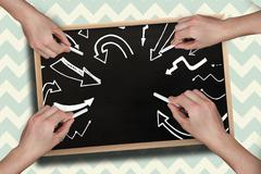 Composite image of multiple hands drawing arrows with chalk - stock illustration