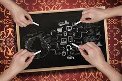 Composite image of multiple hands drawing brainstorm with chalk Stock Illustration