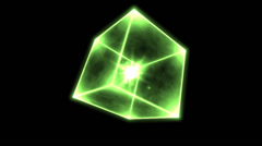 Rotating Glowing Cube Animation - Loop Green - stock footage