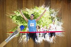 Composite image of racer crossing finishing line - stock illustration