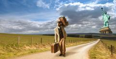 Emigrant from New york - stock photo