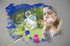 Composite image of little girl blowing bubbles Stock Illustration