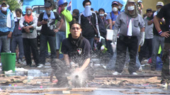PROTESTERS RIOT POLICE CHAOS Fire Hose Stock Footage