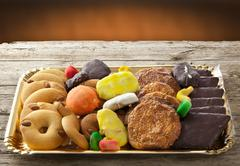 Mix of pastries and cookies Stock Photos