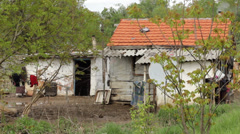 Serbia, 2014. Floods. Destroyed slum of poor family after floods. Ruined house. - stock footage