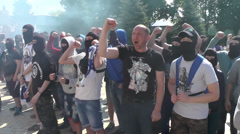 Football fans before the final of the football championship of Ukraine. Stock Footage